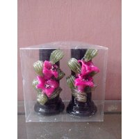 Hand Made Lily Flower Pillar Candles-Set Of 2 Candles-4 Inches