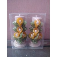 Hand Made Mogra Flower Pillar Candles-Set Of 2 Candles-4 Inches