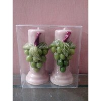 Hand Made Grapes Pillar Candles-Set Of 2 Candles-4 Inches