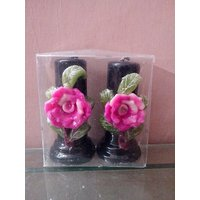Hand Made Rose Flower Pillar Candles-Set Of 2 Candles-4 Inches