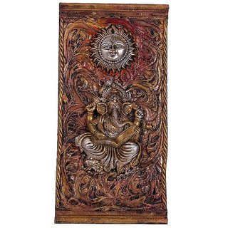Craft Art India Brown Handcrafted Wall Decorative Hanging Art Lord Ganesha And Sun Cai-Hd-0172