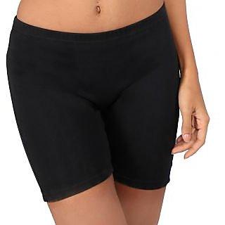 Bralux Black Cotton Plain Short