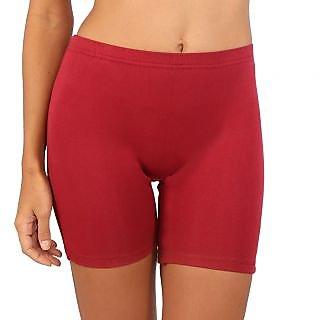 Bralux Maroon Cotton Plain Short