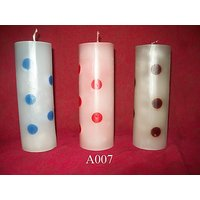 Ingraved Dots Designer Cylinderical Pillar Candle-Small-6X1 Inches