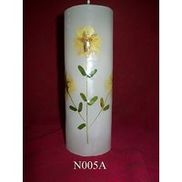 Natural Flower Cylindrical Aromatic Candle-6X1 Inches (Option 1)
