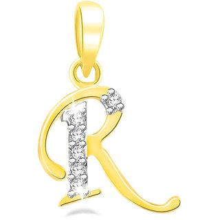 Sparkles 0.02 Ct. Beautiful `R` Shape Diamond Pendant In Sterling Silver