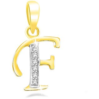 Sparkles 0.02 Ct. Beautiful `F` Shape Diamond Pendant In Sterling Silver