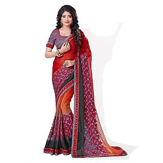 Aesha Red Embroidered Georgette Saree