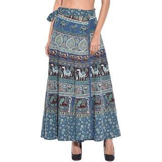 Saffron Craft Women Full Length Cotton Printed Wrap Around Skirt