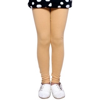 IndiWeaves Girls Super Soft Cotton Beige Leggings
