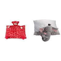 Deals India Red Teddy Pillow and Grey Elephant Pillow - 40 cm (set of 2)
