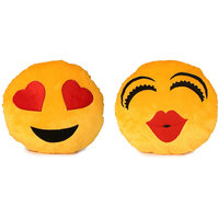 Deals India Heart Eyes Smiley and Kiss smiley Cushion - 35 cm(smiley13)Set of 2