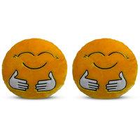 Deals India Yellow Hugging Smiley Cushion - 35 cm(smileyEE) set of 2