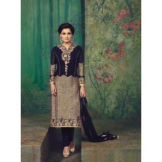RapidDukan Un-Stitched Navy Blue Color Straight Salwar Suit Dupatta Material SF589