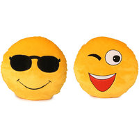 Deals India Soft COOL Dude Smiley and Wink Smiley Cushion - 35 cm(smiley24) Set of 2