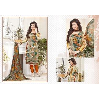 RapidDukan Un-Stitched Beige Color Straight Salwar Suit Dupatta Material SF591