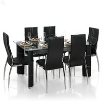 Steel Dining Set with 6 Chairs (Black)