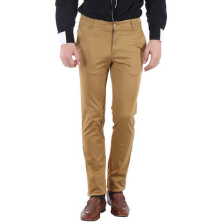 Routeen Mens Cosmo Khakhi Slim Fit Smart Casual Coloured Chinos Pants