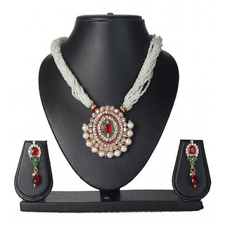 7Star Combo of Crystal & Pearl Necklace Set with Earrings