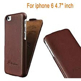 Samshi Collection Top Flip 100 Genuine Leather Case for iPhone 6/6S 4.7Inch- Brown