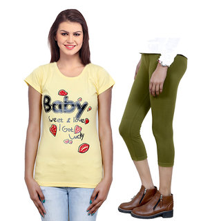 Indistar Girls Cotton T-Shirt  Girls Capri Set of - 2 3100071808-IW