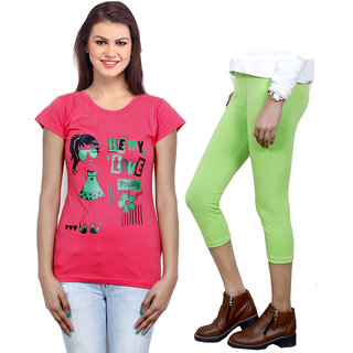Indistar Girls Cotton T-Shirt  Girls Capri Set of - 2 3100171811-IW