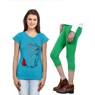 Indistar Girls Cotton T-Shirt  Girls Capri Set of - 2 3100371801-IW