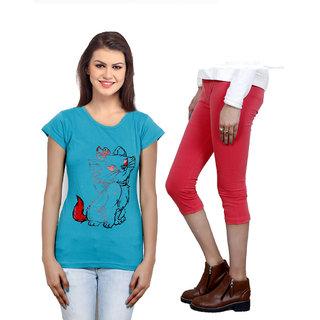 Indistar Girls Cotton T-Shirt  Girls Capri Set of - 2 3100371814-IW