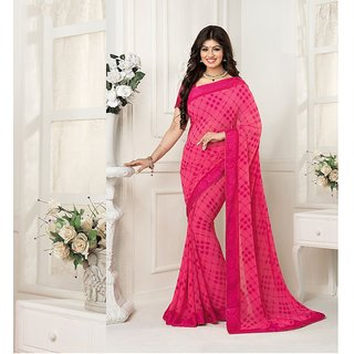 Thankar Pink Georgette Printed Saree