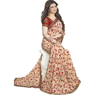Thankar online trading Red Georgette Printed Saree With Blouse