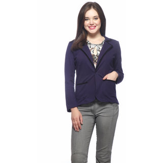 Vvoguish Blue Fleece Solid Jacket For Women