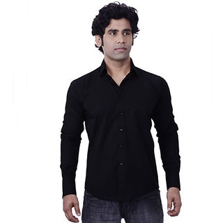 Zeal Black Poplin Full Sleeves Slim FIt Semi Formal Shirts for Men