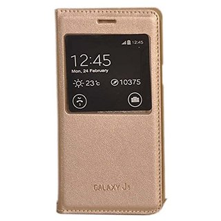Flip Cover for Samsung Galaxy J5 ( golden )