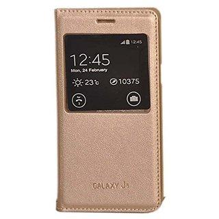 Flip Cover for Samsung Galaxy J5 ( golden )