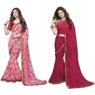 Thankar Pink  Red Georgette Printed Saree
