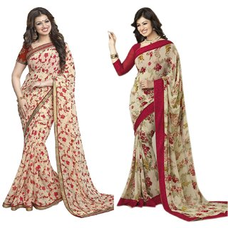 Thankar online trading Beige Georgette Printed Saree With Blouse