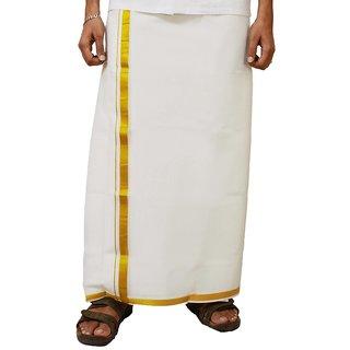 Fashionkiosks Mens Traditional White Soft Gold Border Dhoti 11goldsoft