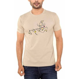 JE Multitrade Pure cotton Biscuit color Graphics printed t shirt for mens. (ABSTRACT OF INDIAN GOD KRISHNA  Design.)