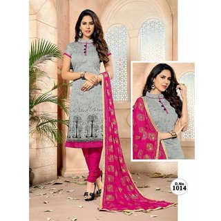 RapidDukan Un-Stitched Grey Color Straight Salwar Suit Dupatta Material SF605
