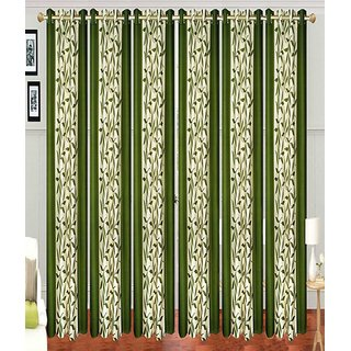 Swastik Green Kolaveri Polyester Door Curtains (7 Feet) (Set of 6)