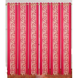 Swastik Pink Polyester Eyelet Door Curtains (7 Feet) (Set of 6)