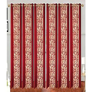 Swastik Red Polyester Door Eyelet Curtains (7 Feet) (Set of 6)