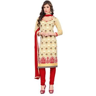 Fabdeal Daily Wear Beige Colored Banarasi Silk Dress Material