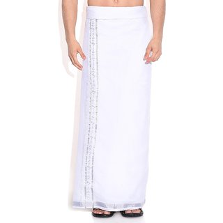Fashionkiosks Mens Traditional 1 Inch Silver Border with Embroiding Dhoti NakulanSilverEmbroider285
