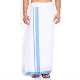 Fashionkiosks Mens Traditional 2 Inch Sky Blue Colour Border Dhoti PistaSkyblue185
