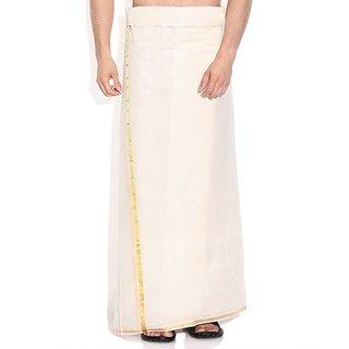 Fashionkiosks Mens Traditional Half Inch Gold Colour Border Dhoti SilverStar280