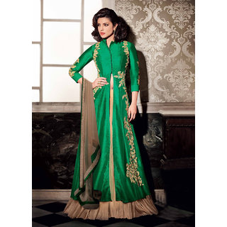 Thankar Green Embroidered Banglori Silk Anarkali Suit