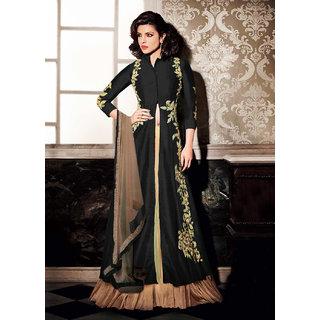 Thankar Black Embroidered Banglori Silk Anarkali Suit