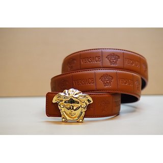 Versace Medusa Embossed Tan Leather Belt With Gold Buckle