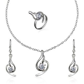 Oleva Austrian Diamond White Stone Pendant Set (Design 2)